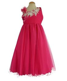 Simply Cute Floral Lace Dress With Pearls - Fuchsia Pink