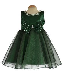 Simply Cute Dress With Pearls On Neckline & Accented On Bow - Olive Green