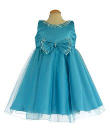Simply Cute Dress With Pearls On Neckline & Edged On Bow - Turquoise Blue