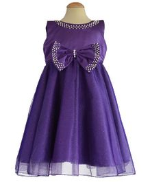 Simply Cute Dress With Pearls On Neckline & Edged On Bow - Purple