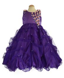 Simply Cute Tridax Gown With Pearls On Skirt - Purple