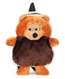 Tickles Plush Bag Chimpanzee Design Brown Peach - Height 14 Inches