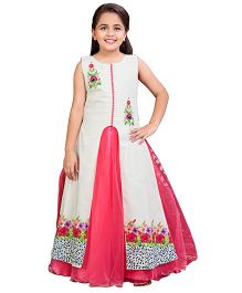 Betty By Tiny Kingdom Ethnic Evening Gown  - Off White & Pink