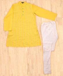 Silverthread Trendy Kurta With Churidar Set - Yellow