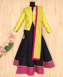 Silverthread Lehnga Choli Dupatta Set - Black & Yellow