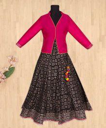 Silverthread Elegant Lehnga Choli - Fuschia & Black