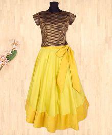 Silverthread Lehnga Choli With Bow -Yellow