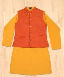 Silverthread Festive Kurta With Jacket Set - Yellow