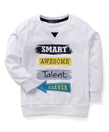Smarty Full Sleeves Sweatshirt Awesome Print - White