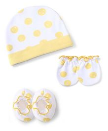 Ben Benny  Cap Mittens And Booties Set Multiprint - Yellow White