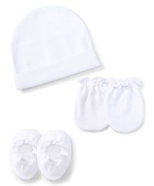 Ben Benny Cap Mittens And Booties Set - White