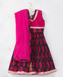 Kidcetra Tie Top Lehenga Choli With A Dupatta - Black & Pink
