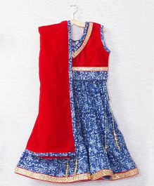 Kidcetra Tie Top Lehenga Choli With A Dupatta - Blue & Red