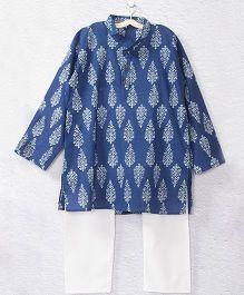Kidcetra Printed Kurta Pajama Set - Blue