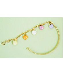 Doodles By Purvi Colorful Hearts 18 Kt Gold Bracelet - Multi Color