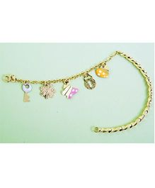 Doodles By Purvi Lock And Key 18 Kt Gold Bracelet - Multi Color