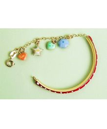 Doodles By Purvi 18 Kt Gold Charm Bracelet - Multi Color And Red