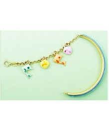 Doodles By Purvi Dolphin Love 18 Kt Gold Bracelet - Multi Color And Blue