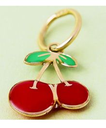 Doodles By Purvi Cherry 18 Kt Gold Pendant - Red And Gold