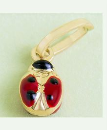 Doodles By Purvi Lady Bug 18 Kt Gold Pendant - Red And Gold