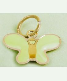 Doodles By Purvi Social Butterfly 18 Kt Gold Pendant - Green And Gold