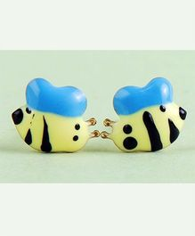 Doodles By Purvi Slimy Snail 18 Kt Gold Earrings - Blue And Yellow