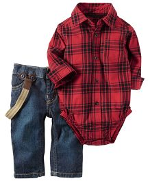 Carter's Full Sleeves Check Onesie With Jeans Coordinate Set - Red & Blue