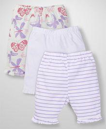 Babyoye Leggings Multi Print Pack Of 3 - White Pink