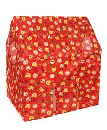 Lovely Play Tent House With Wheels Cat Print - Red