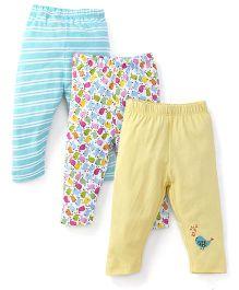 Ohms Leggings Multi Print Pack Of 3 - Yellow Blue Multi Color