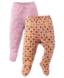 Ohms Bootie Leggings Pack Of 2 - Pink & Orange
