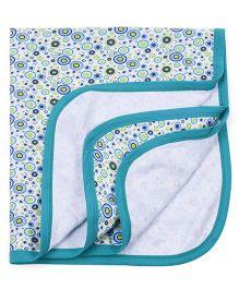 Ohms Terry Blanket Allover Print - Aqua Blue