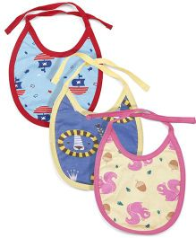 Ohms Tie Knot bib Pack of 3 - Red Yellow Pink