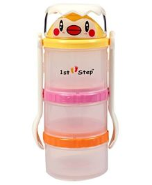 1st Step Food Container And Spoon Set - Orange Pink Yellow
