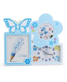 Alarm Clock With Square And Star Shape Photo Frame - Blue White