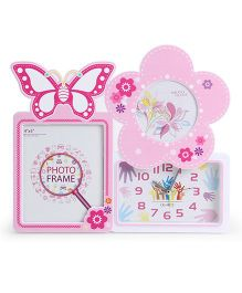 Alarm Clock With Square And Star Shape Photo Frame - Pink White