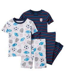 Carter's 4-Piece Snug Fit Cotton PJs - White Navy