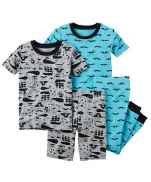 Carter's 4-Piece Snug Fit Cotton PJs - Grey Blue