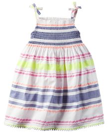 Carter's Smocked Neon-Striped Dress - Multi Color