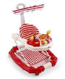 Musical Baby Walker Cum Rocker With Canopy - Red Cream