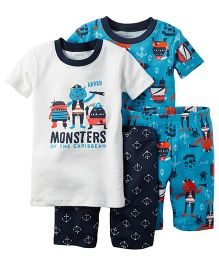 Carter's 4-Piece Snug Fit Cotton Nightwear Set - Blue & White