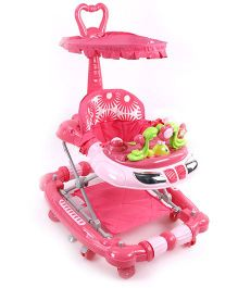Musical Baby Walker With Canopy And Push Handle - Dark Pink
