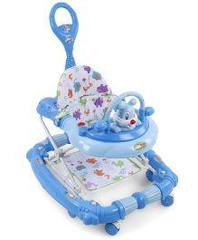 Musical Baby Walker Cum Rocker With Push Handle - Blue