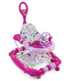 Musical Baby Walker Cum Rocker With Push Handle - Pink