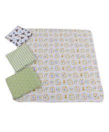 Abracadabra Receiving Blankets Pack Of 4 - White Green Orange