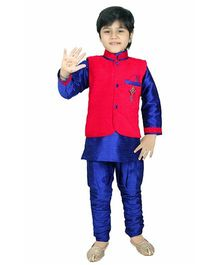 Enfance Ethnic Kurta Jacket & Breeches Set - Red & Blue