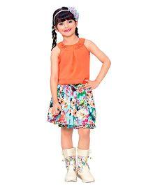 Tiny Baby Multicolour Floral Print Skirt & Top Set - Orange