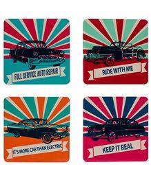 The Crazy Me Vintage Car Collection Coasters Set - Multicolour