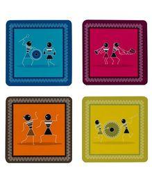 The Crazy Me Varli Pattern Coaster Set - Multicolour