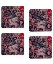 The Crazy Me Flashback Vintage Stamps Print Coaster Set - Cream